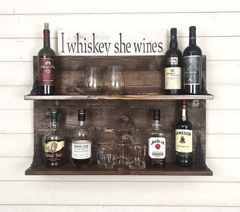 Liquor shelf, wine rack, whiskey rack, whiskey shelf, wine shelf, wine  display shelf, whiskey display shelf, reclaimed wood shelf,