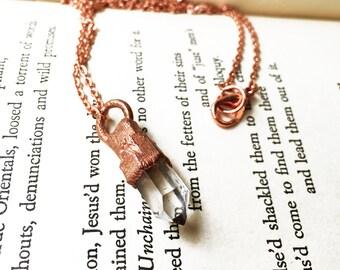 Quartz Point Necklace, Copper Quartz Crystal Point Necklace, Clear Crystal Pendant Necklace, Electroformed Copper Jewelry, Handmade Necklace