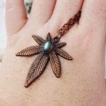 Weed Leaf Necklace, Ganja Leaf Necklace, Electroformed Jewelry Sweet Leaf Jewelry, Pot Leaf Necklace, Ganja Leaf Necklace Weed leaf Necklace