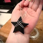 "For Pam- Blue Goldstone Star Necklace, Wire Wrapped Handmade Necklace - 30"" Chain"