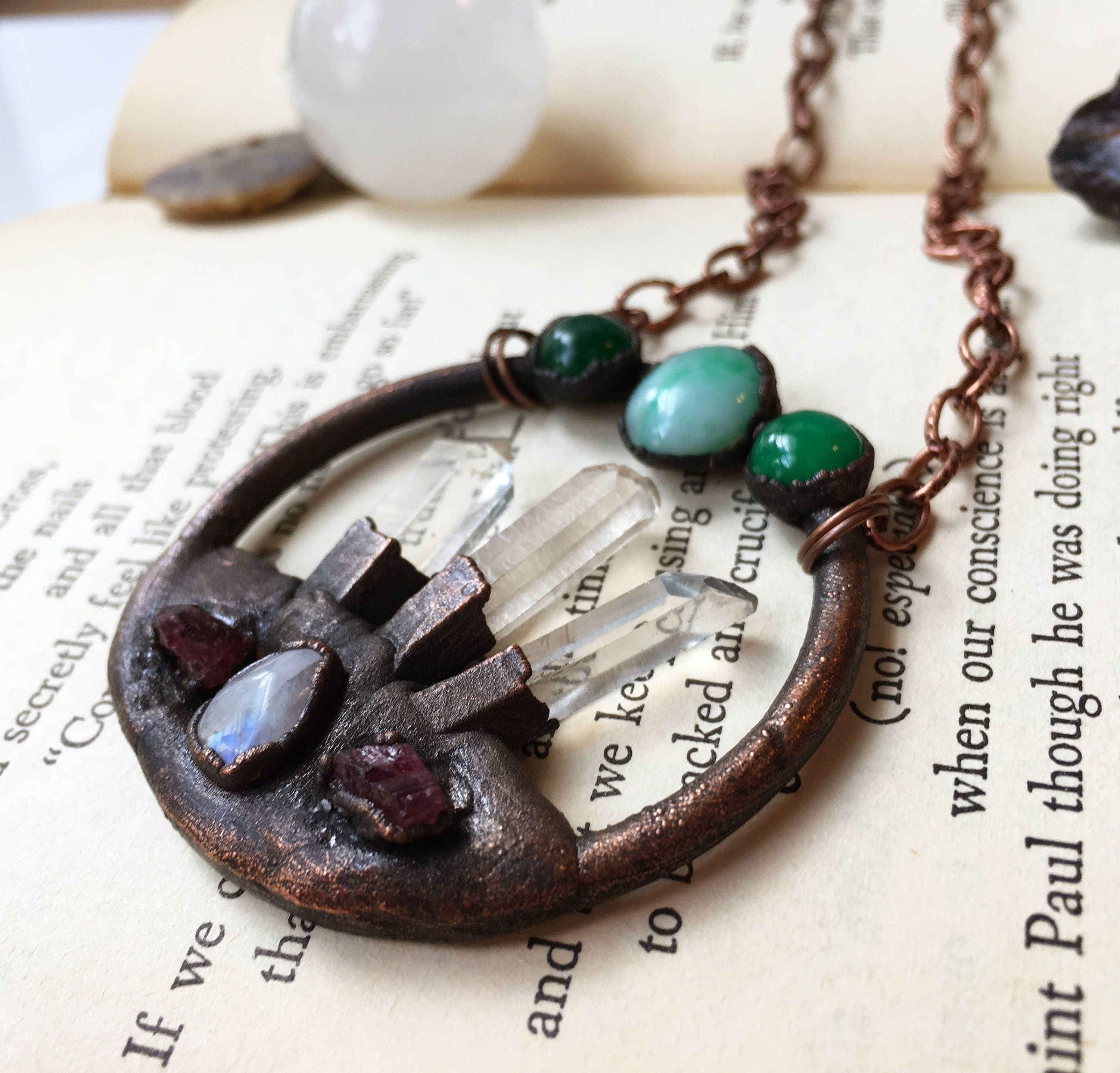 Chunky Quartz Point Copper Electroformed Necklace
