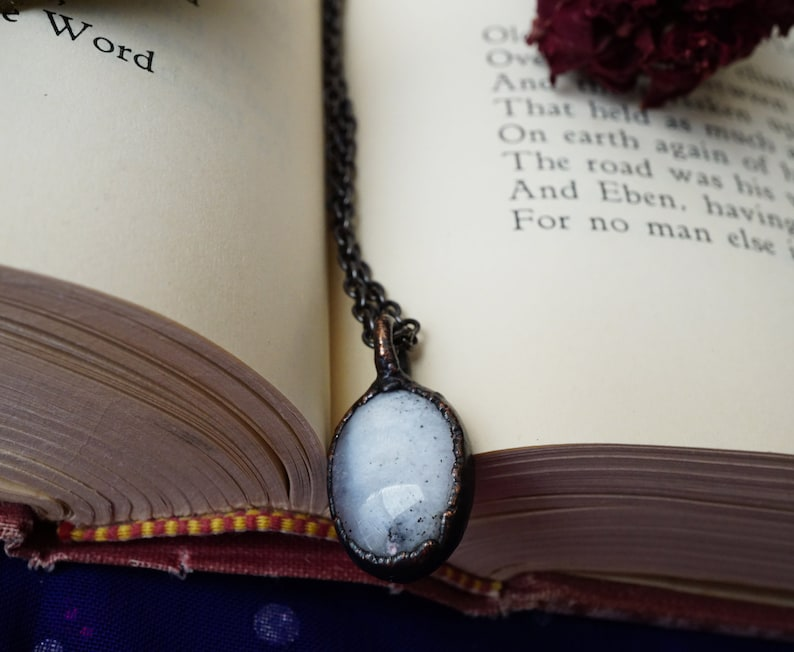Opal Jewelry White Opal Tiny Crystal Necklace Electroformed Copper Necklace Dendrites Dendritic Opal Necklace Dendrite Opal Pendant