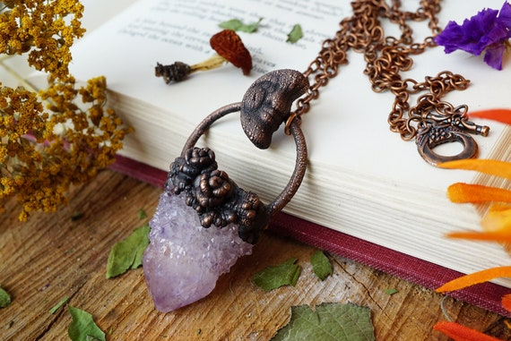 Raw Gemstone Purple Quartz Copper Moon Necklace