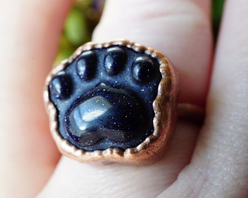 Cat Lovers Gifts Blue Crystal Ring Kitty Ring Crystal Jewelry Cat Paw Ring Cat Paw Ring Electroformed Copper Ring Handmade Ring