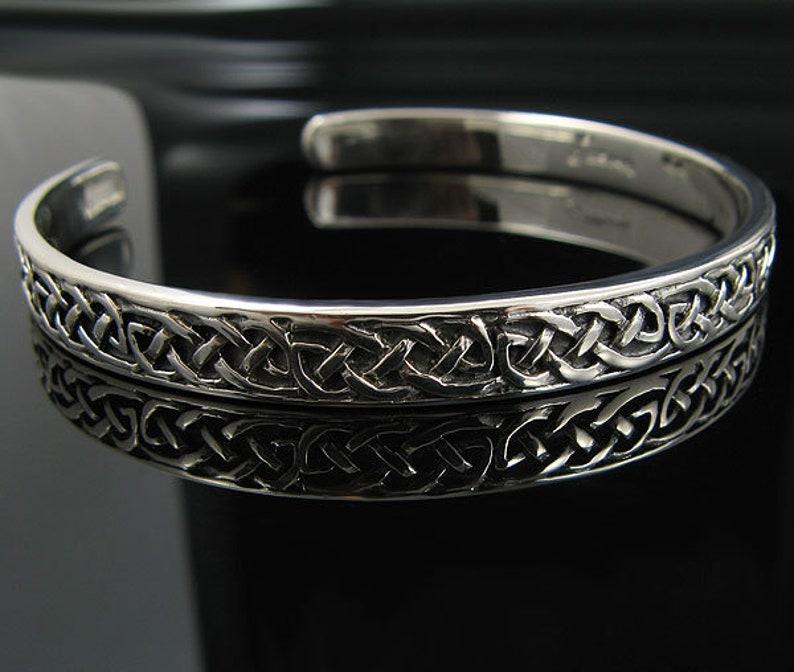 Genuine 7.5 Antiqued .925 Sterling Silver High Shine Polished Irish Celtic Knots Cuff Bangle Bracelet