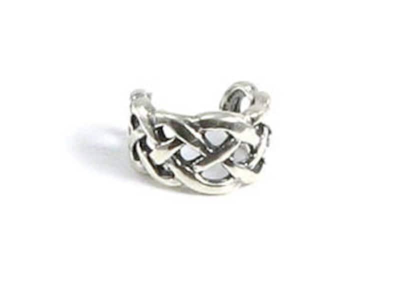 Genuine .925 Sterling Silver Irish Celtic Knot Weave Ear Cuff image 1