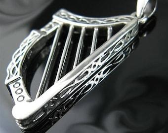 Genuine Solid .925 Sterling Silver Irish Celtic Harp Necklace Pendant