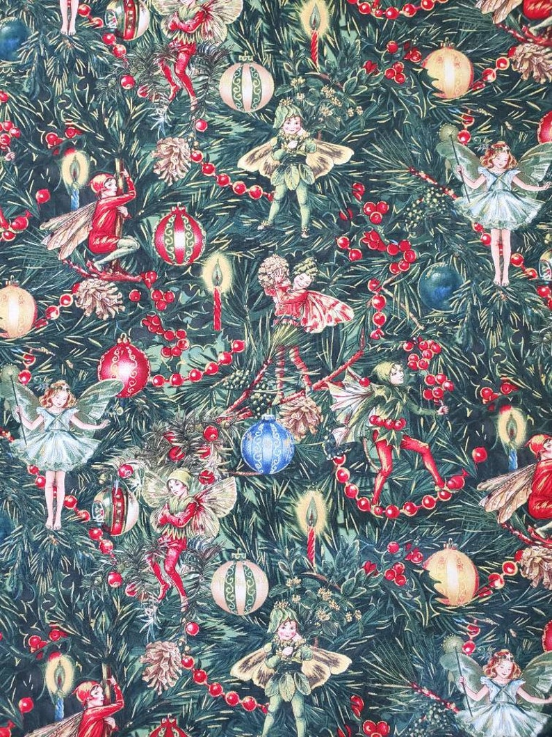 Christmas Fairy Fabric Fairy Tail Fabric Michael Miller Fabric Christmas Tree Fabric Quilt Fabric Holiday Fabric Oop