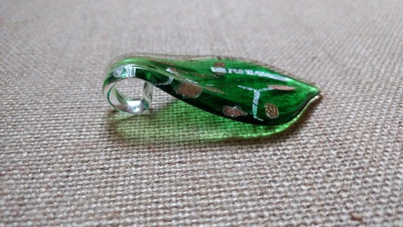 Glass Necklace Pendant Jewelry Pendant Lampwork Glass Pendant Green Pendant DIY Necklace Necklace Pendant Glitter Pendant Glass Bead