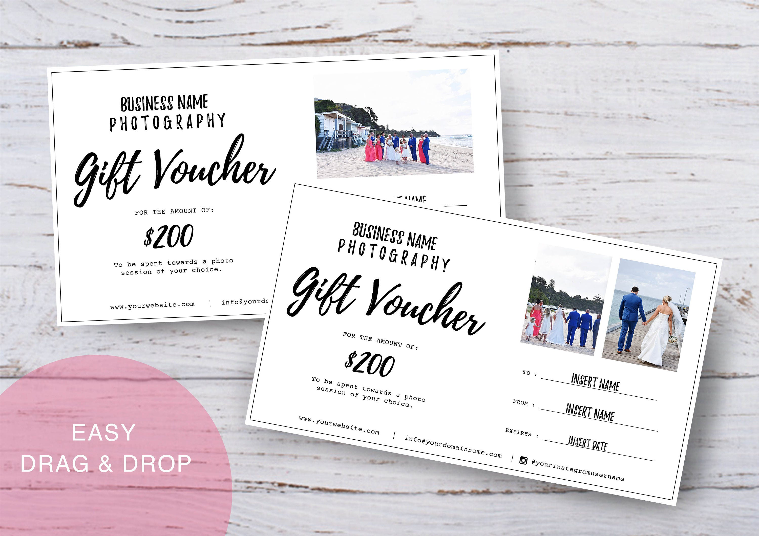 Photography Gift Voucher Certificate Template Psd For Etsy