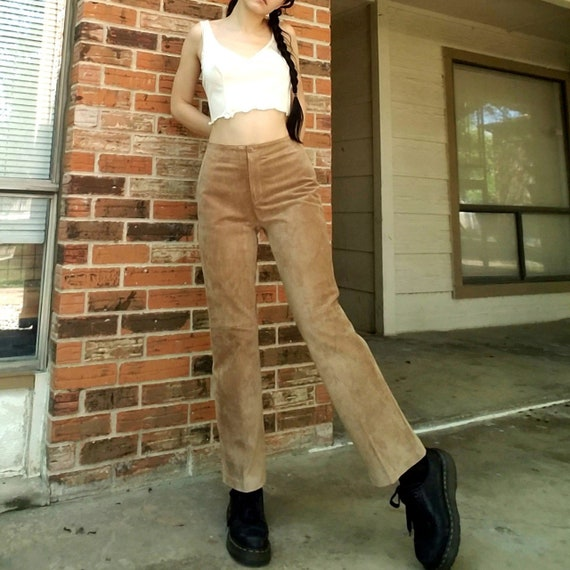 Vintage tan genuine suede leather high waisted pan