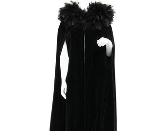 f90215949ca French Vintage Full Length Black Velvet and Feather Cape