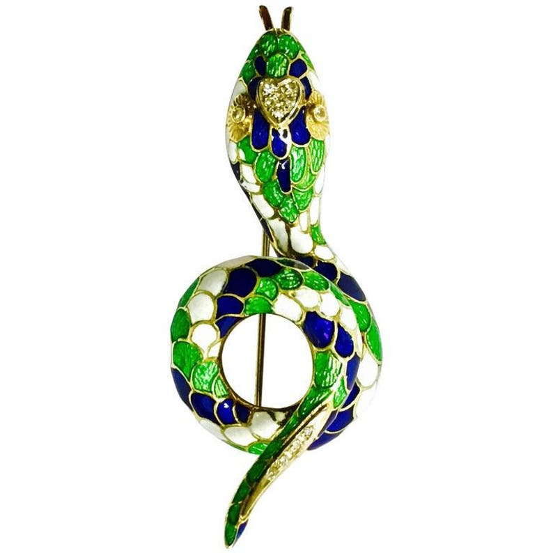 Fine Jewelry Vourakis Tsarouhi Ruby Sapphire & Diamond Gold 18k And Platinum Brooch Jewelry & Watches