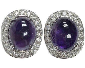 Amethyst and Diamond 18K White Gold Stud Earrings