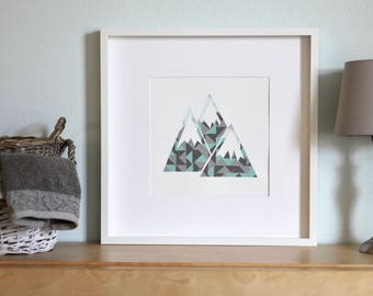Snow-Capped Mountain Collage-Modern Nursery Wall Art and Decor