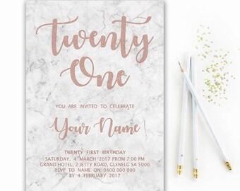 21st birthday invitations etsy rose gold marble printable birthday invitation custom printable diy party invitation 21st birthday 18th birthday filmwisefo