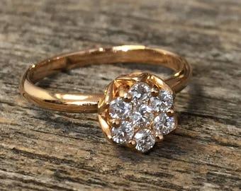 Flower diamond ring, dainty diamond ring Rose  gold Diamond floral ring, Leaf wedding ring, Lotus promise ring, Flower engagement ring