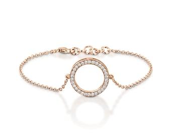 Rose gold circle diamond bracelet, Pave White Diamond Round Disc Bracelet, Dainty Friendship Bracelet, Tiny Diamond Bracelet