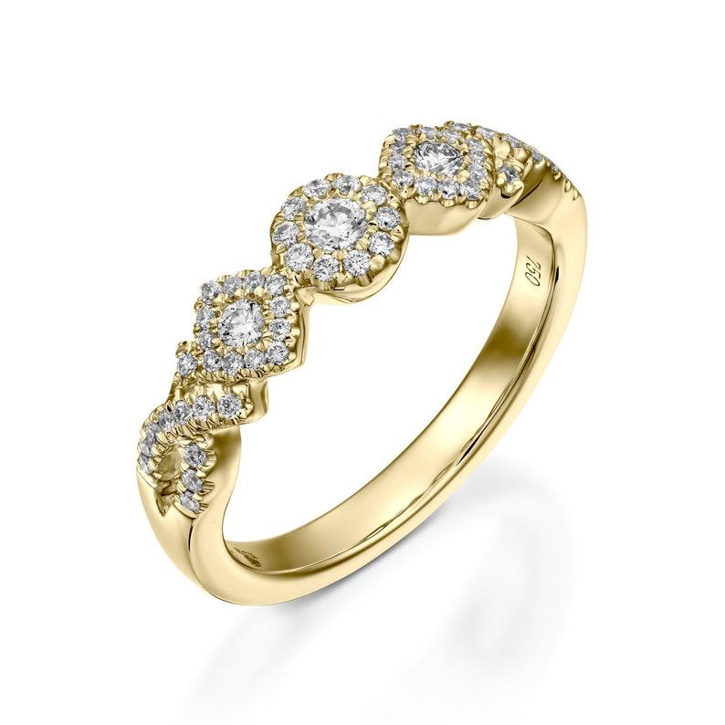 0dae7799babea Bezel engagement ring Vintage style half eternity wedding band Full  Milgrain art deco Ring Stacking Ring anniversary promise ring