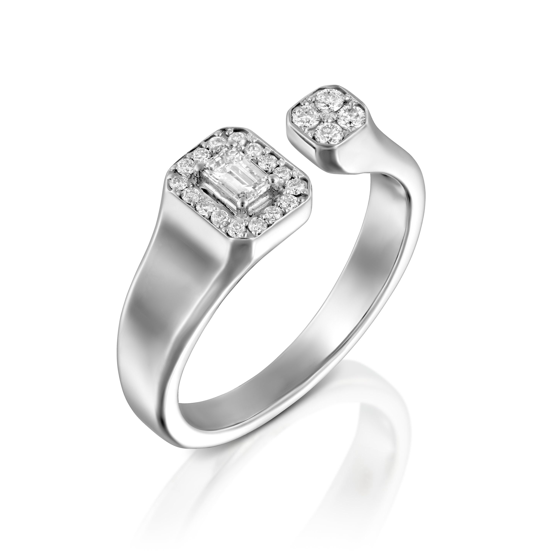 Open diamond wedding band open diamond ring 18k white solid