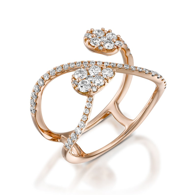 de9d64e011d18 Rose gold infinity ring unique Diamond Engagement Ring, Diamond Wedding  Ring Set, infinity jewelry, artisan ring diamond designer ring