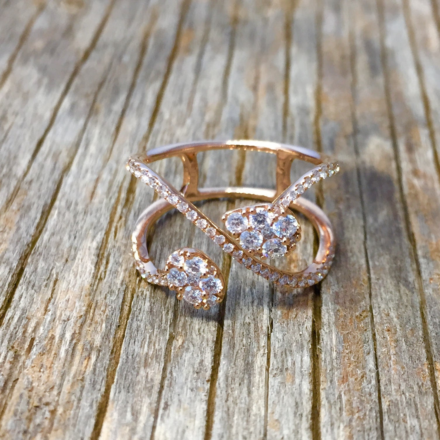e96698b89de9d Vintage marquise cut engagement ring diamond infinity ring open band rose  gold bridal jewelry for her