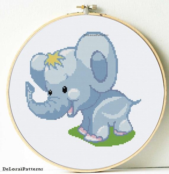 CROSS STITCH CHART ELEPHANT COLLAGE