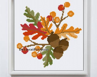 Autumn cross stitch pattern leafes cross stitch autumn wall art modern cross stitch leafes pattern fall cross stitch PDF Instant download