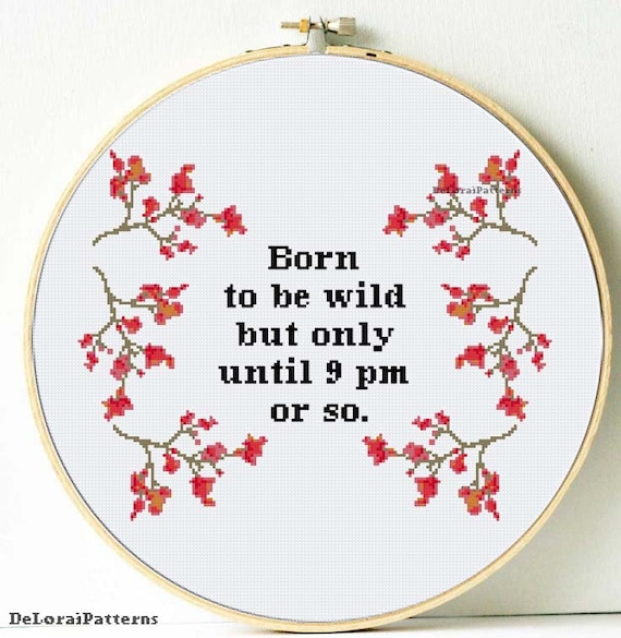Funny cross stitch pattern born to be wild cross stitch flowers digital pdf  files funny wall decor cross stitch sakura branches funny gift