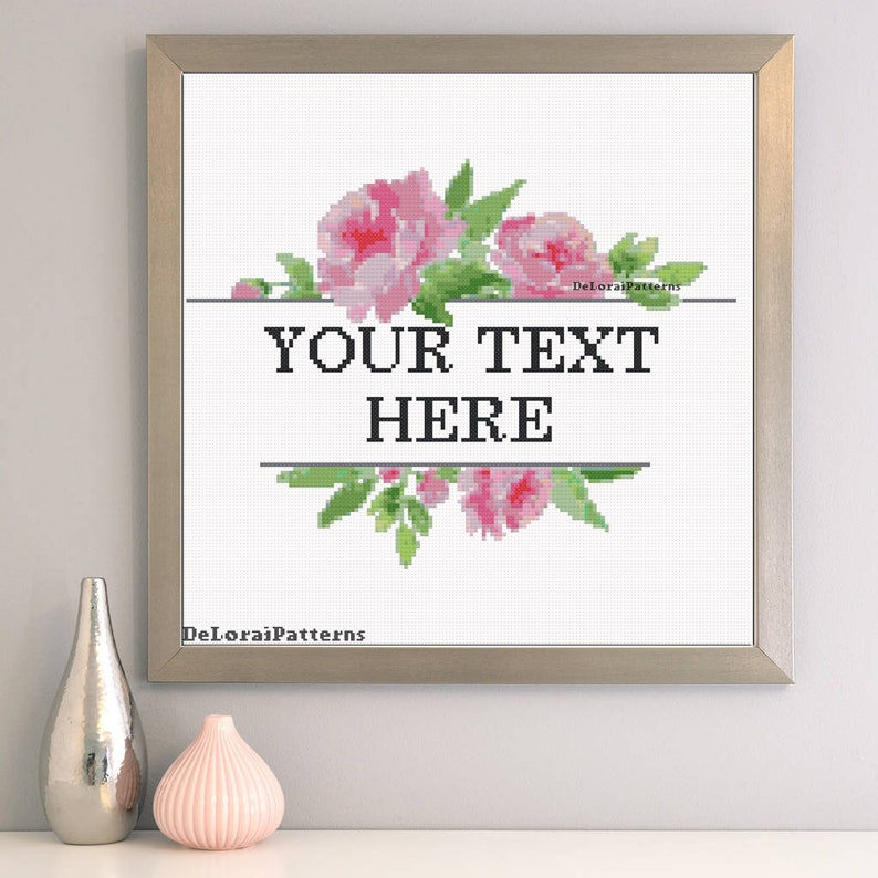 Custom cross stitch pattern  Personalized cross stitch flowers border   Weeding cross stitch floral frame anniversary gift Mother's day gift