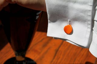 Anniversary gift for him, italian design cufflinks, silver jewelry in the shape of an orange petal, size M