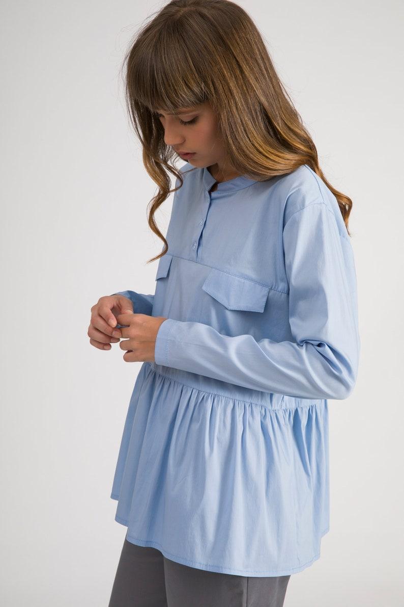 3b1e3b95eb8 Designer Work Blouse Light Blue Women Top Peplum Tops Loose | Etsy