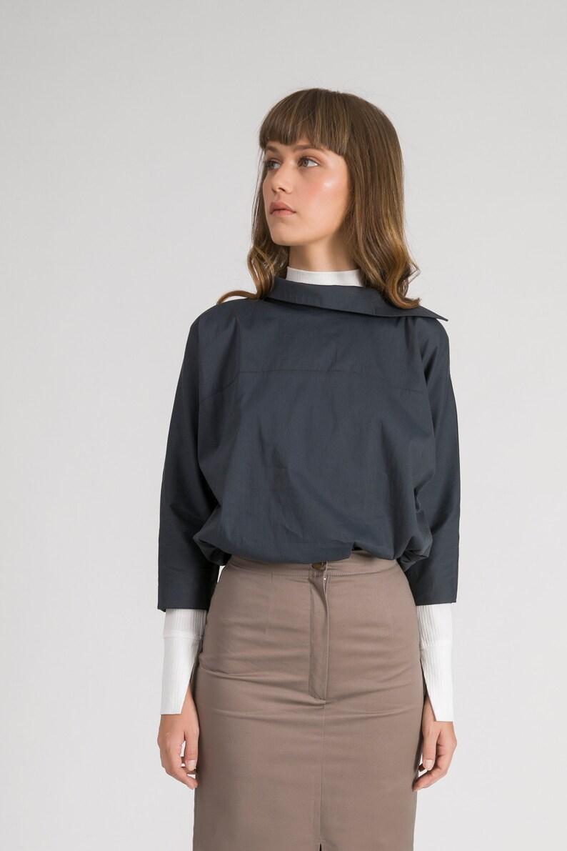 White Loose Formal Blouse Long Sleeve Cold Shoulder Tops Elegant Women Office Wear