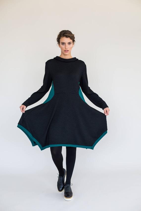 Black Winter Dress Long Sleeve Dress Black Dress Black Knee Etsy