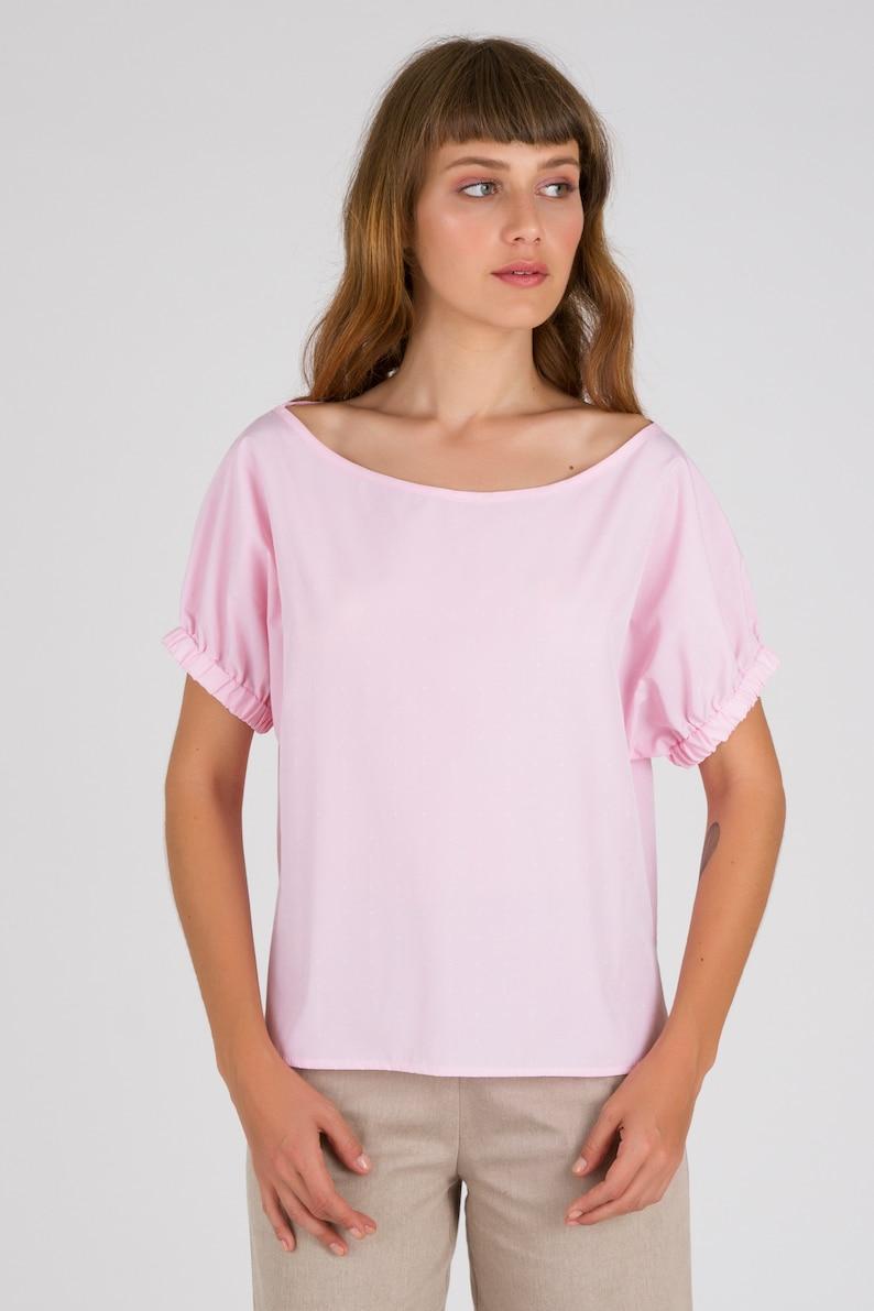 113618bfb2d69 Light Pink One Shoulder Tops Women Summer Blouses Loose