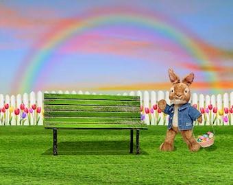 Easter Bunny Digital Background w/rainbow