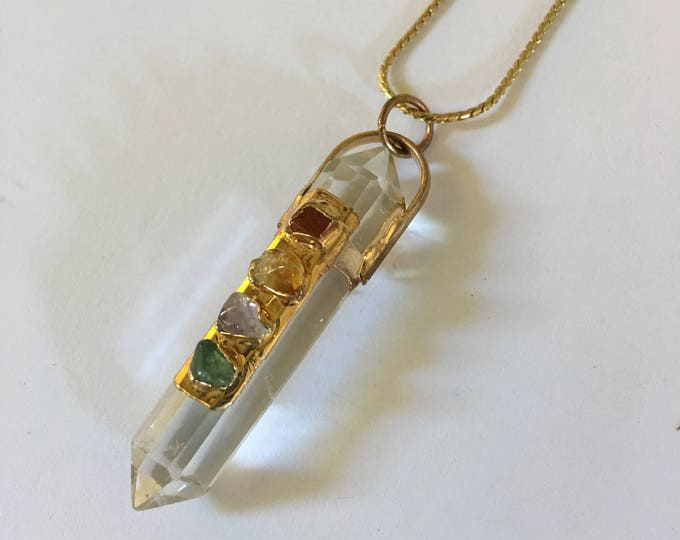 Featured listing image: Vintage crystal prism pendant and precious stones attached to a beautiful gold tone chain.