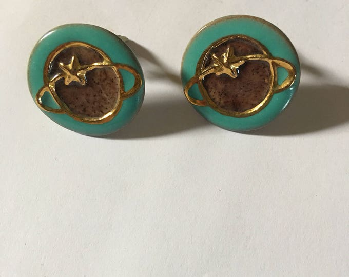 Featured listing image: Retro Vintage amazing celestial clip on earrings from the sixties with torquise color enamel and gold leaf detail.