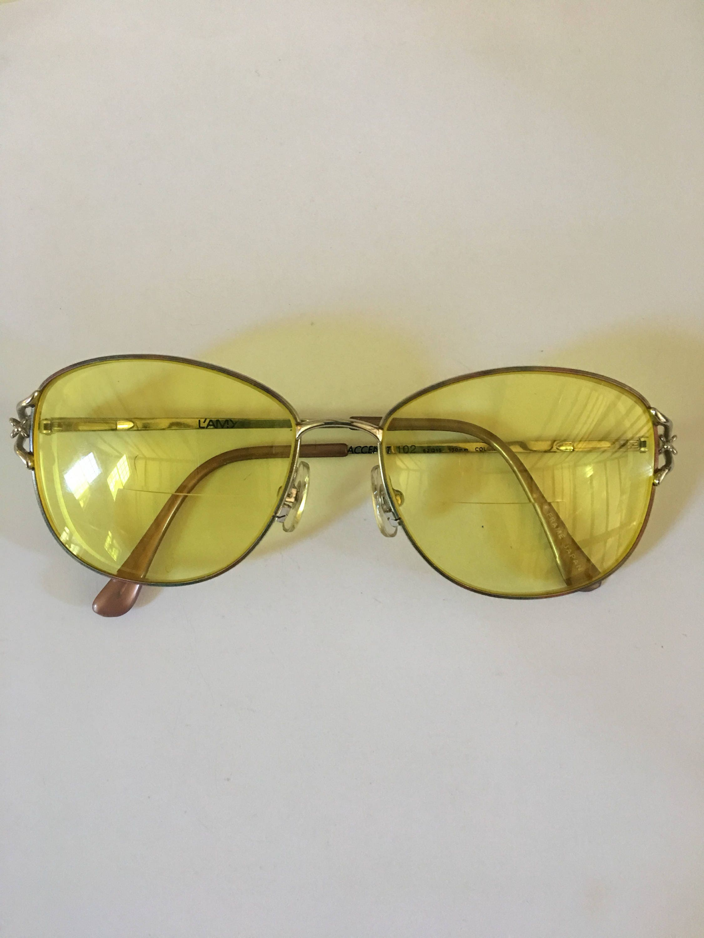 d4cfc8d5ff5f8 Vintage L AMY French prescription sunglasses with rare yellow lenses.