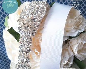 Beaded Sash - Rhinestone Belt -  Bridesmaids Sash -Crystal Belt - Bridal Sashes - Rhinestone Sashes - Quince Belts - PROM Belts - Sashes