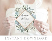Dusty Blue Save the Date INSTANT DOWNLOAD, Wedding Invite, DIY Printable Save the Date, Templett, Editable pdf, Rustic Invites, Papillion