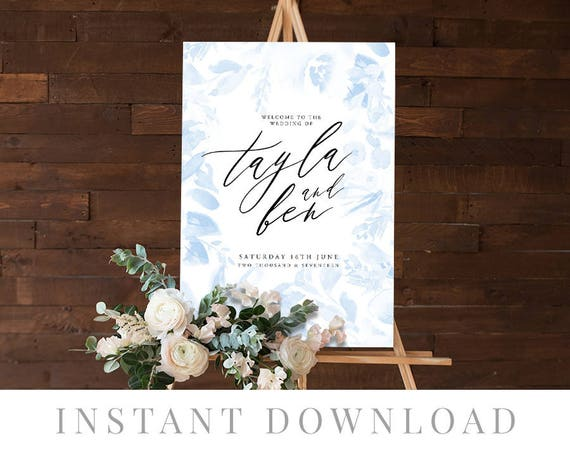 image relating to Printable Wedding Signage referred to as Welcome Signal Fast Obtain, Marriage Signage, Do it yourself