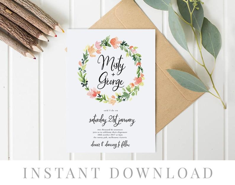 Ignite Elopement Announcement Elopement Editable pdf Template We Eloped Templett Wedding Elope Invitation Printable INSTANT DOWNLOAD
