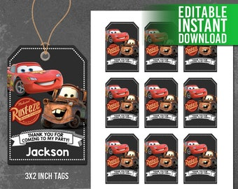 Disney Cars Thank You Tags Favor CARS Printables Birthday Party Editable PDF Instant Download