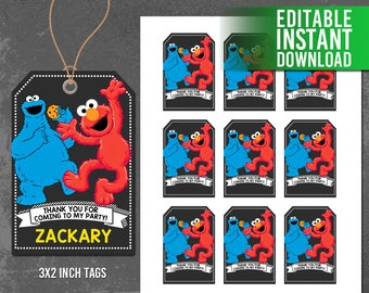 Sesame Street Thank You Tags, Elmo and Cookie Monster Favor Tags, Sesame Street Printables, Sesame Street Birthday, PDF Instant Download