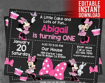 Minnie Mouse Invitation Download 1st Birthday PINK Party Mini Printables Editable