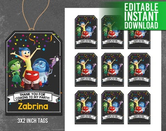 Inside Out Thank You Tags, Inside Out Favor Tags, InsideOut  Movie Party, Editable PDF Template - INSTANT DOWNLOAD