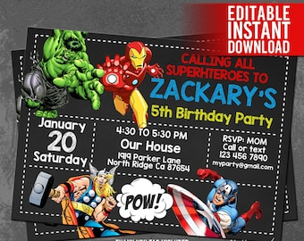 Superhero Avengers Invitation / Avengers Birthday Invitation / Avengers Instant Download / Avengers Editable Invitation / Avengers Party