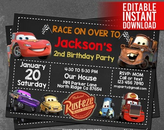 McQueen Invitation Lightning Invites Cars Birthday Disney PDF
