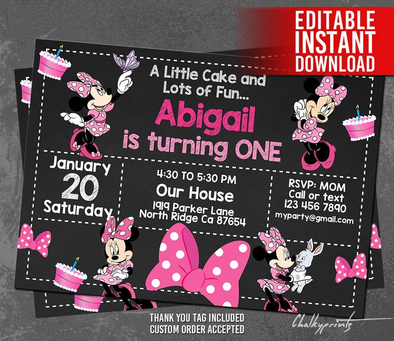 Minnie Mouse Invitation Download 1st Birthday